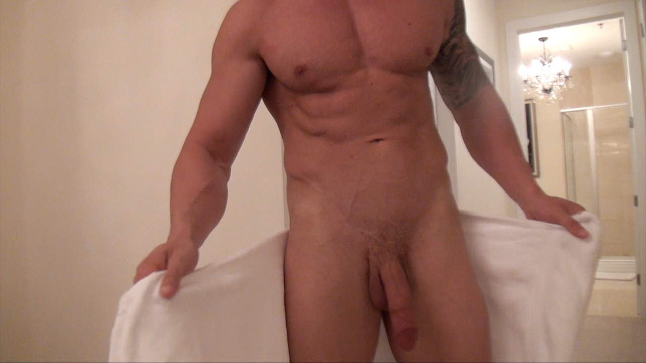 Former Airforce, bi-curious gym dude and an over all cool guy Alex gives you all a proud and powerful cock show for his auditon video, shower and stroke off.